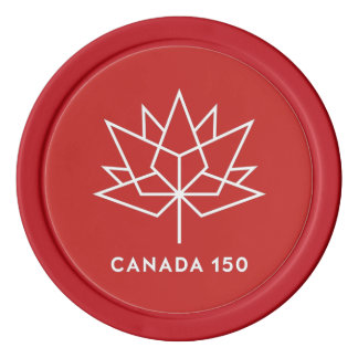 Canada 150 Official Logo - Red and White Poker Chips