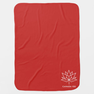 Canada 150 Official Logo - Red and White Swaddle Blankets