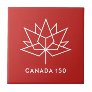 Canada 150 Official Logo - Red and White Tile