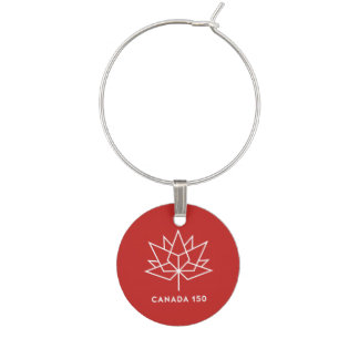 Canada 150 Official Logo - Red and White Wine Glass Charms