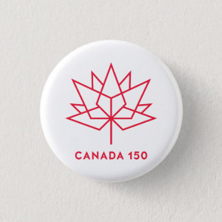 Canada 150 Official Logo - Red Outline 1 Inch Round Button