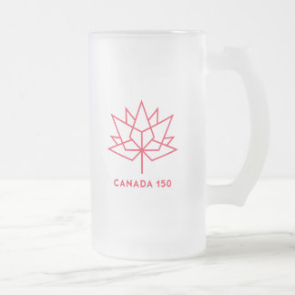 Canada 150 Official Logo - Red Outline Frosted Glass Beer Mug