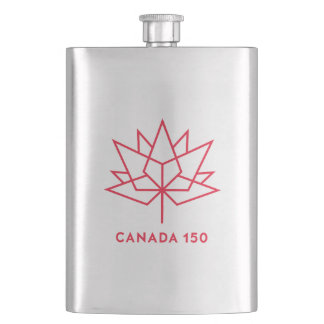 Canada 150 Official Logo - Red Outline Hip Flask