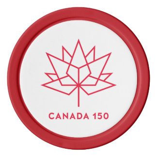 Canada 150 Official Logo - Red Outline Poker Chips