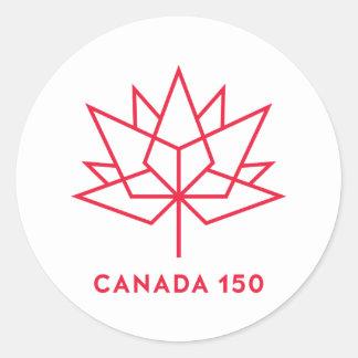 Canada 150 Official Logo - Red Outline Round Sticker