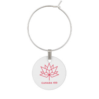 Canada 150 Official Logo - Red Outline Wine Charms