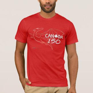 Canada 150 - Red Dragon Line Art Slim T-shirt
