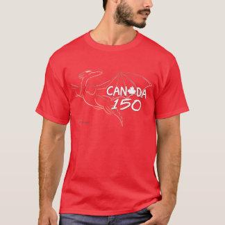 Canada 150 - Red Dragon Line Art T-shirt by Mafai