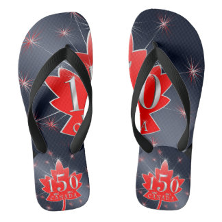 Canada 150 Red Maple Leaf Fireworks Night Sky Blak Flip Flops