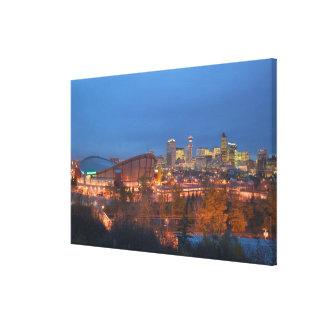 Canada, Alberta, Calgary: City Skyline from 4 Canvas Print