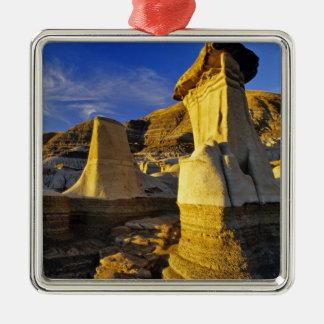 Canada, Alberta, Drumheller. Hoodoos. Silver-Colored Square Ornament