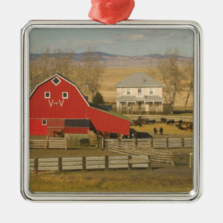 Canada, Alberta, Pincher Creek: Red Barn & Ranch Silver-Colored Square Ornament