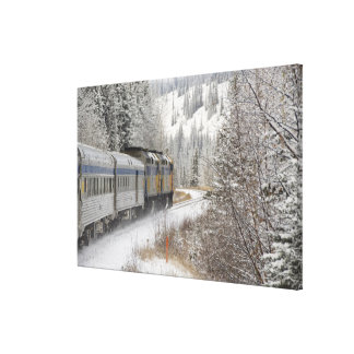 Canada, Alberta. VIA Rail Snow Train between Canvas Print