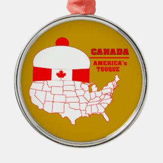 Canada -America's Cool Tuque Silver-Colored Round Ornament