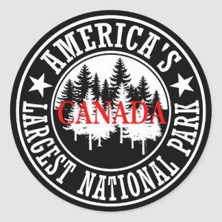 Canada America's Largest National Park Round Sticker