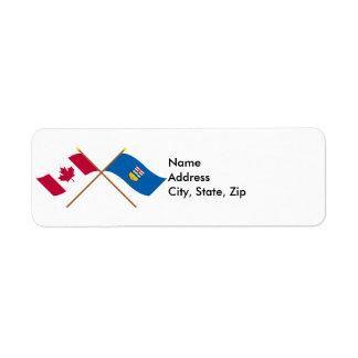 Canada and Alberta Crossed Flags Custom Return Address Labels