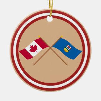 Canada and Alberta Crossed Flags Round Ceramic Ornament