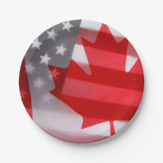 Canada and America flags 7 Inch Paper Plate