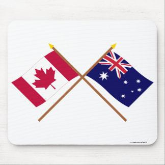 Canada and Australia Crossed Flags Mouse Pad