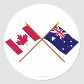 Canada and Australia Crossed Flags Round Stickers