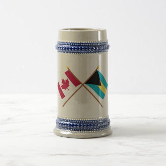 Canada and Bahamas Crossed Flags Beer Stein