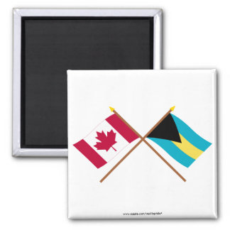 Canada and Bahamas Crossed Flags Square Magnet
