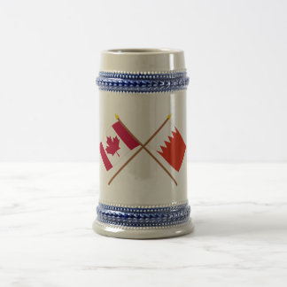 Canada and Bahrain Crossed Flags Beer Stein