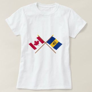 Canada and Barbados Crossed Flags T-Shirt