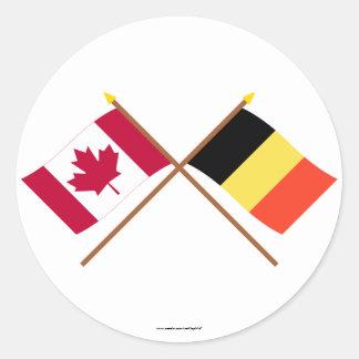Canada and Belgium Crossed Flags Round Sticker