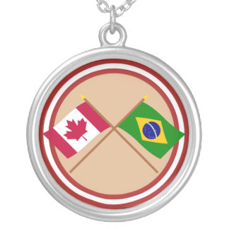 Canada and Brazil Crossed Flags Silver Plated Necklace