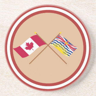 Canada and British Columbia Crossed Flags Coasters