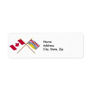 Canada and British Columbia Crossed Flags Return Address Label