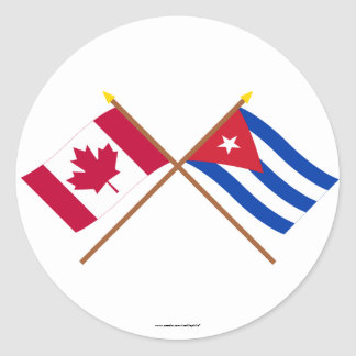 Canada and Cuba Crossed Flags Round Sticker