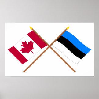 Canada and Estonia Crossed Flags Poster