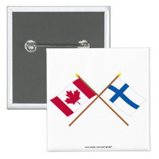 Canada and Finland Crossed Flags 2 Inch Square Button