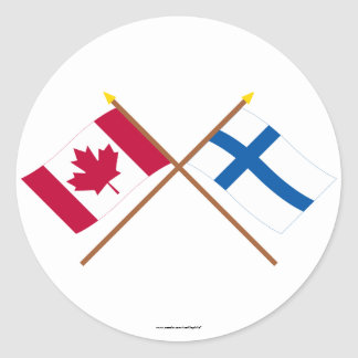 Canada and Finland Crossed Flags Round Sticker
