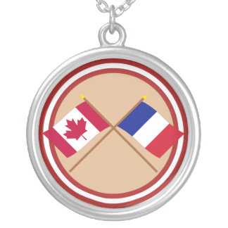 Canada and France Crossed Flags Round Pendant Necklace