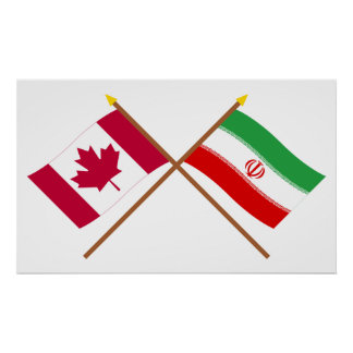 Canada and Iran Crossed Flags Poster