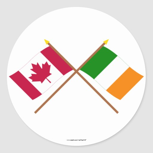 Canada and Ireland Crossed Flags Round Sticker