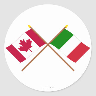 Canada and Italy Crossed Flags Round Sticker