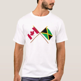 Canada and Jamaica Crossed Flags T-Shirt