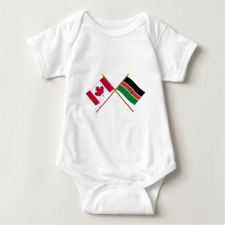 Canada and Kenya Crossed Flags Baby Bodysuit
