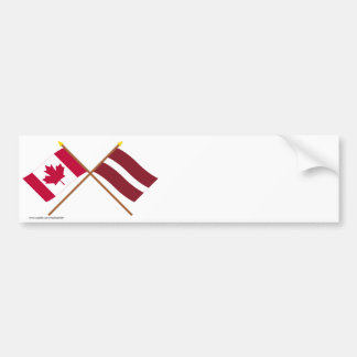 Canada and Latvia Crossed Flags Car Bumper Sticker