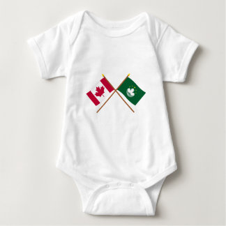 Canada and Macau Crossed Flags Baby Bodysuit