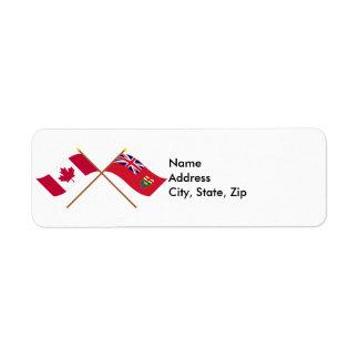 Canada and Manitoba Crossed Flags Custom Return Address Labels