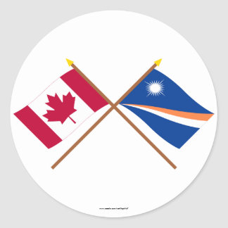 Canada and Marshall Islands Crossed Flags Round Stickers