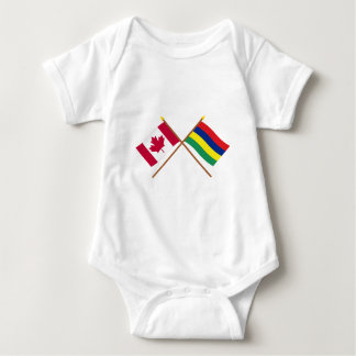 Canada and Mauritius Crossed Flags Baby Bodysuit