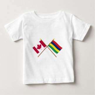 Canada and Mauritius Crossed Flags Baby T-Shirt
