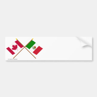 Canada and Mexico Crossed Flags Bumper Sticker