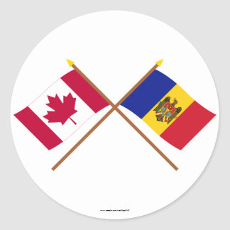 Canada and Moldova Crossed Flags Sticker
